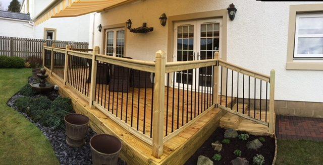 Timber decking with steel balustrade